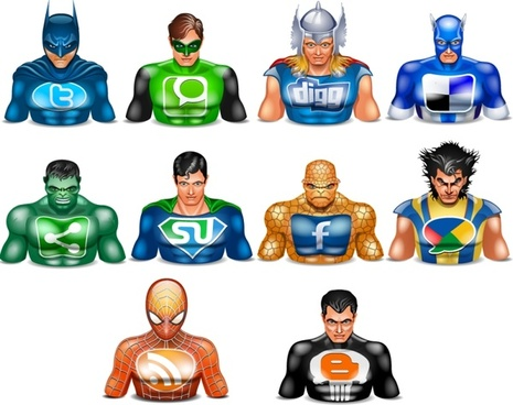Halloween icons social superheros icons pack