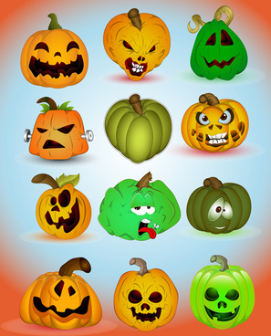 halloween jack o lantern vector set