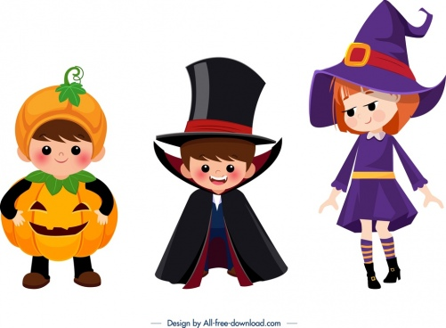 halloween kids icons cute cartoon character design