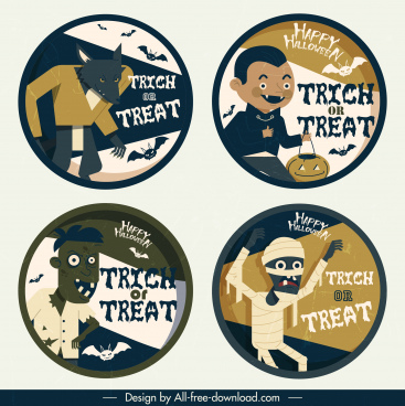 halloween label template horror characters sketch circle design