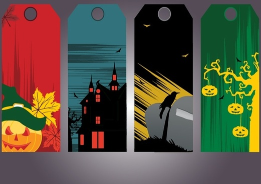halloween tags templates dark colored horror elements decor