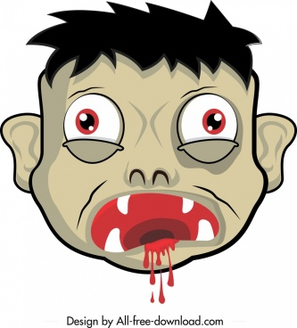 halloween mask template horrible bloody face icon