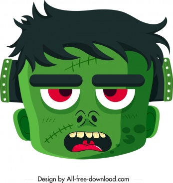 halloween mask template scary green face icon