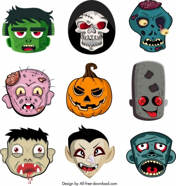 halloween masks templates collection horror funny emotional faces