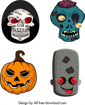 halloween masks templates horrible icons multicolored design