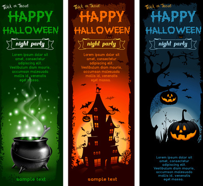 halloween night banner vector set