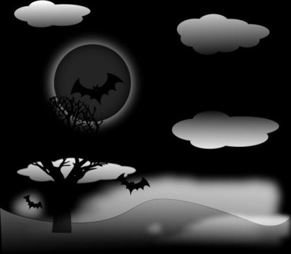 halloween night with bats vector background