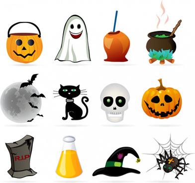 halloween ornament icons vector