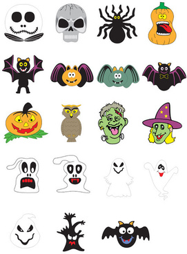 halloween ornament icons vector