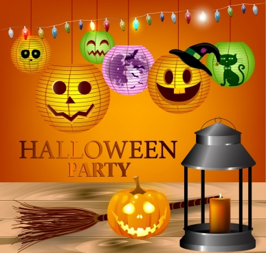 halloween party banner bright pumpkin lanterns decoration