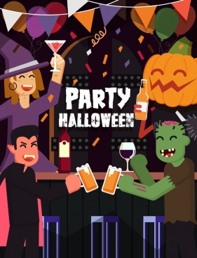 halloween party banner horror characters icons