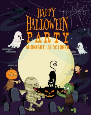 halloween party banner scary characters moonlight tombs icons