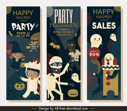 halloween party banners classic horror characters vertical design
