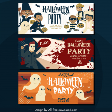 halloween party banners funny horror characters horizontal design