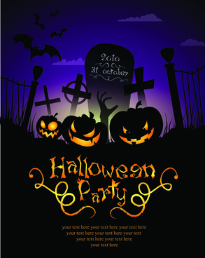 halloween party flyer cover pumpkin vector