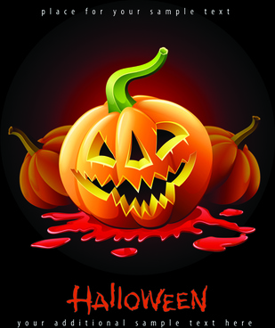 halloween party flyer cover pumpkin vector
