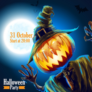 halloween party night background vector