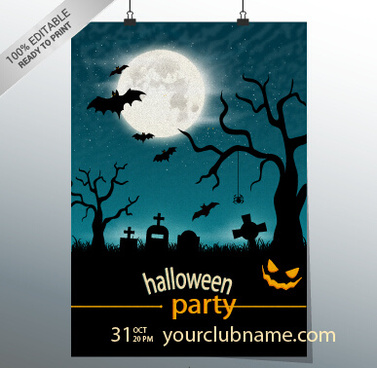 halloween party night poster design vector