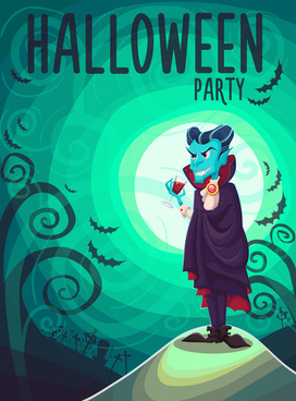 halloween party poster design creative vector