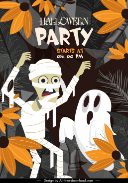 halloween party poster template ghost zombie characters sketch