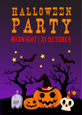 halloween party poster violet backdrop horror icons ornament