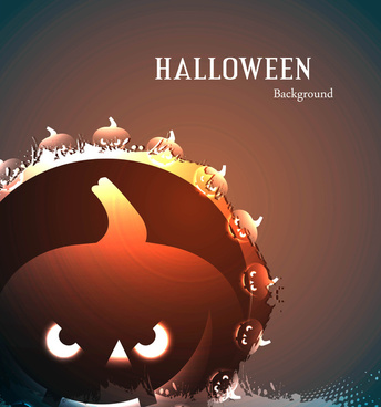 halloween party scary pumpkins bright colorful vector background