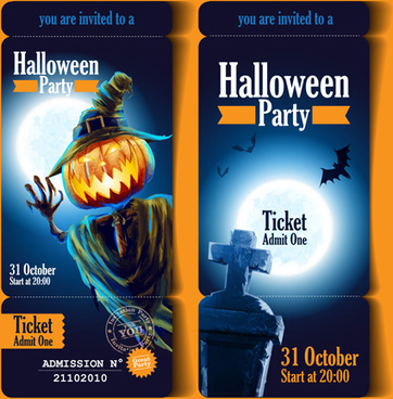 halloween party ticket vector