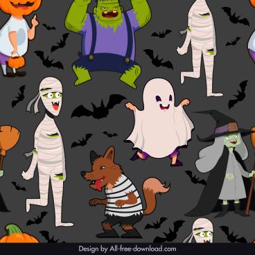 halloween pattern dark colorful cartoon characters sketch