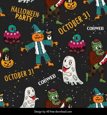 halloween pattern ghost zombie evil characters decor