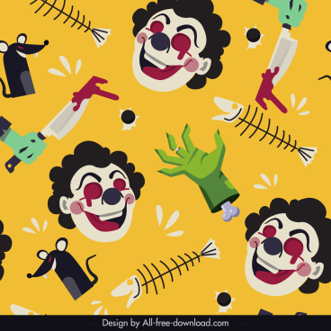 halloween pattern repeating horror clown bloody dead icons