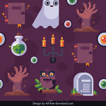 halloween pattern template colorful flat horror elements sketch