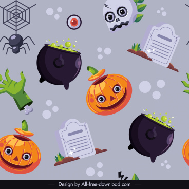 halloween pattern template repeating frightening elements sketch