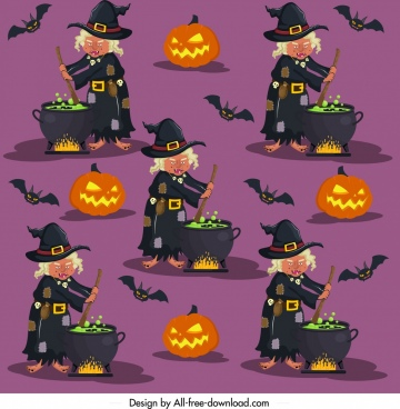 halloween pattern witch pumpkin bat icons repeating design