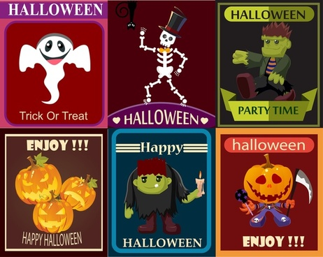 halloween poster design elements with cute characters illustration