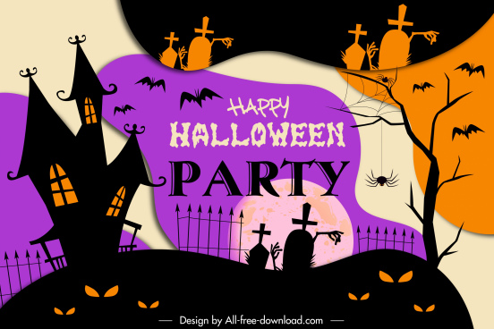halloween poster template dark flat vintage scary elements