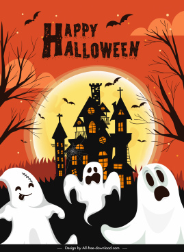 halloween poster template funny ghosts castle moonlight sketch