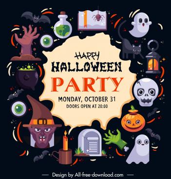 halloween poster template horrible elements decor