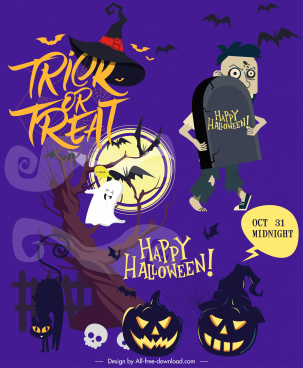 halloween poster template horrible symbols decor cartoon characters