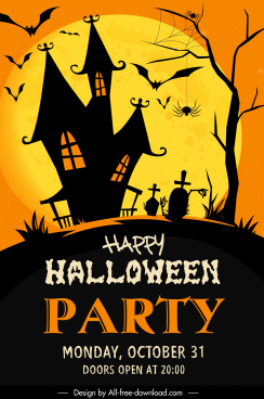 halloween poster template scary castle spiders bats tombs