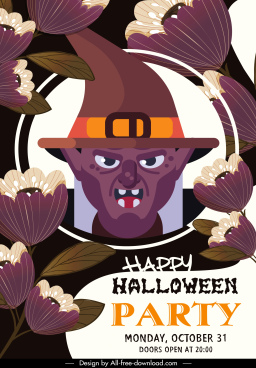halloween poster template witch portrait flowers decor