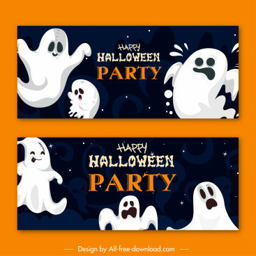 halloween poster templates funny ghosts characters sketch