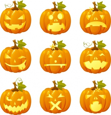 halloween pumpkin icons modern 3d sketch horror faces