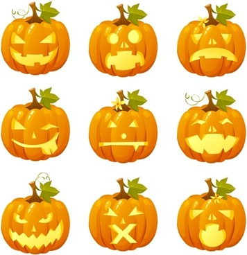 halloween pumpkin head vector emoticons