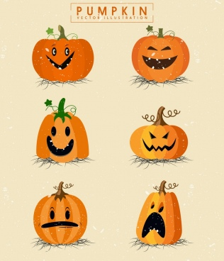 halloween pumpkin icon collection various funny emotion isolation
