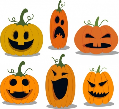 halloween pumpkin icons collection various emotion isolation