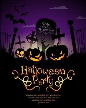 halloween pumpkin lights poster background vector
