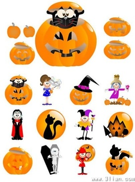 halloween design elements funny cute icons cartoon sketch