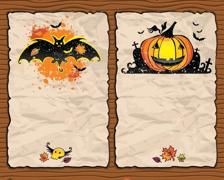 halloween background templates bat pumpkin icons retro paper