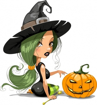 halloween icons pretty witch pumpkin sketch modern cartoon