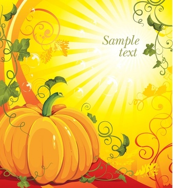 season background pumpkin icon shiny rays decor